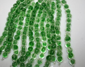 GLOW in the DARK Green Glass Round Beads 10mm 15 to a strand