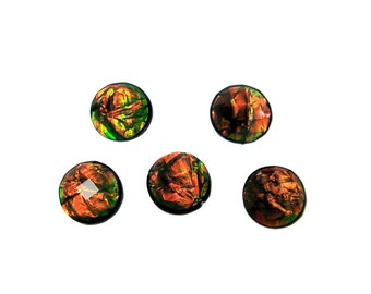 Resin faceted opal cabochons 12mm 5pcs