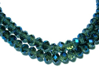 4x6mm Chinese faceted glass crystal beads in Denim Blue AB 50pcs