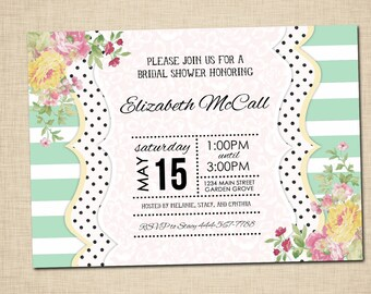 Mint Striped Bridal Shower Invitations - Pink yellow floral shabby chic - print yourself