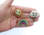 SALE Making rainbows brooch set - rainbow brooch, Sun brooch, rain cloud brooch, crochet wire brooches, unusual brooches, rainbow jewelry