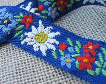 Vintage Blue Floral Ribbon
