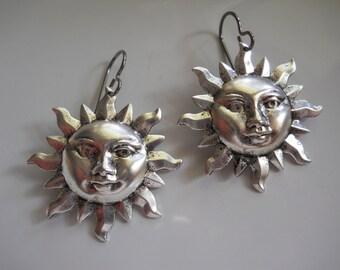 Silver Sun Earrings Celestial Jewelry Sun Face Antiqued Silver