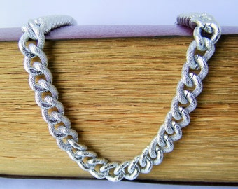 Vintage Choker Chain Polished Silvery Metal Necklace, Choker Style Necklace, Chain to Remake. Necklace Chain