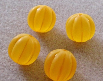 Orange Frosted Acrylic Lucite Ribbed Pumpkin Beads 16mm 819