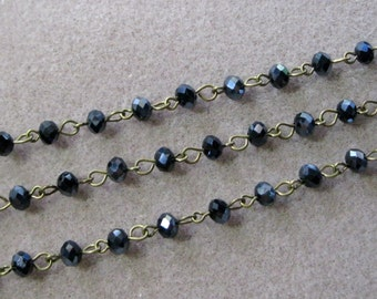 """One Meter 39.5"""" Faceted Black AB Rondelle Glass 6mm Beaded Rosary Chain Antique Bronze Brass 969-Blk"""