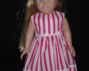 American Girl 18 inch Doll Dress Handmade Pink with Stripes