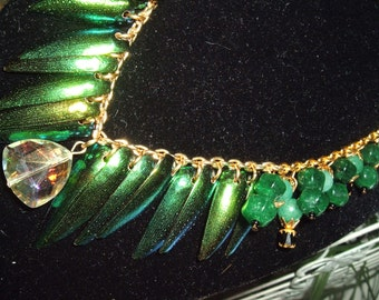 SALE Elytra Beetle Wing Necklace with Natural Emeralds, Jade, Crystal, Gold Chain, Gifts For Her, Handmade, Original, Stunning, Gypsy