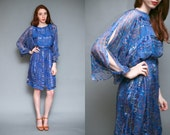Vintage 1970s Icinoo Designer Blue Oriental Silk Dress // The Silk Farm Asian Cherry Blossom Boho Dress - Size S M L