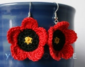 Crochet Red Poppy Floral Dangle Earrings - Island Girl Collection