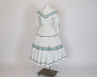 50s dress / Little Cherokee Maiden Vintage 1950's Squaw Full Skirt Shirt Two Patio Piece Set