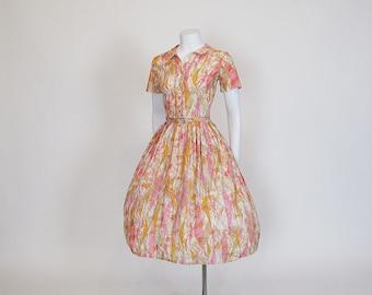 50s dress / Pink Sorbet Vintage 1950's Full Skirt Pleated Belted Dress