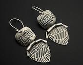 Earrings, silver, artisan, handmade, Smaller Hinged Silver Earrings by Designs by Suzyn