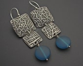 Long and Sassy Oxidized Silver and Teal Frosted Glass Earrings by Designs by Suzyn