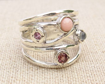 Pink Multistone Ring -  Statement Ring - Pink and Silver Ring