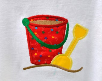 Sand pail and shovel day at the beach appliqued Tshirt with name monogram available