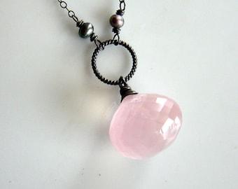 Rose Quartz Brioliette Necklace on Oxidized Sterling Silver