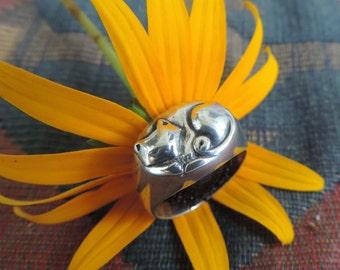 Vintage Cat Sterling Silver Ring