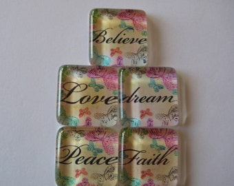 Pretty Inspirational Words Square Glass Magnets Set of 5