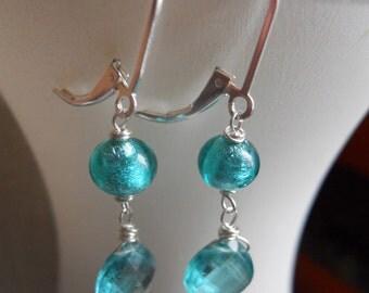 Apatite Earrings, Murano Glass Earrings, Sea Color, Gemstone Earrings, Mare Earrings