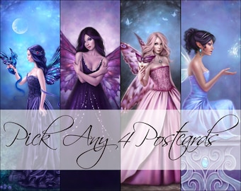 Fairy Postcards set of 4 You choose the art