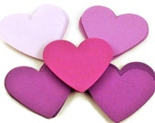 Paper Die Cut Hearts   2  inch  in Purple Passion  Set of 50