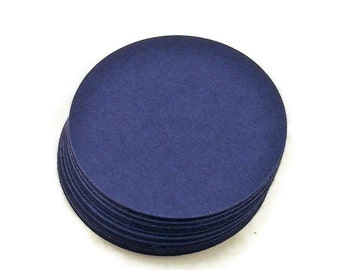 Two Inch Circles Paper Die Cut  2 inch  Circles  in  Navy Blue Set of 50