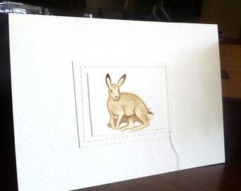 Hare IV original watercolor illustration, animal art, home decor, small art