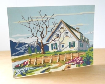 Vintage Paint By Numbers • Cape Cod House • Colorful House with Mountains and Fence PBN