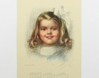 1906 Childhood Art Print, Little Girl, Antique Baby Nursery