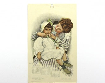 1906 Childhood Art Print, Mother & Little Girl, Baby Nursery Decor