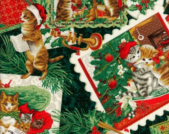 Hoffman Fabrics Christmas Kitties J 9240 8G Green by the yard