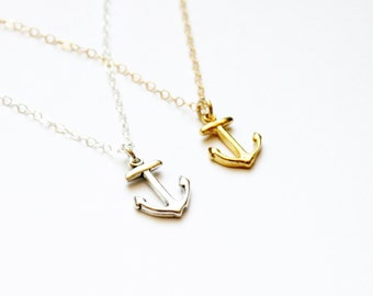 Tiny Anchor Necklace, Silver or Gold Anchor Necklace, Dainty Anchor Necklace, Dainty Necklace, Delicate Jewelry, Gold Layering Necklace