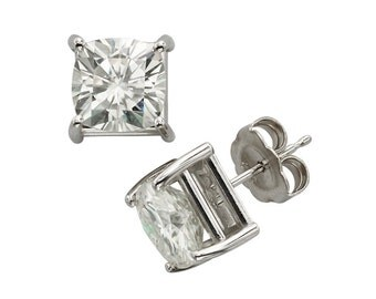14k White Gold Stud Earrings With 4.0 CT TW DEW Moissanite