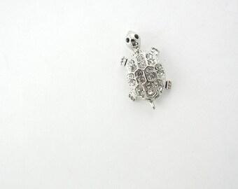 Small Silver-tone Turtle Pendant with Rhinestone Accents
