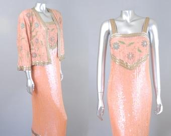 Diva silk sequin dress & jacket | vintage 1980s sequin dress | vintage 80s dress