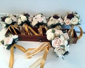 Blush / Burgundy Wedding Bouquet made with sola flowers - choose your colors - Alternative bouquet - bridesmaids - rustic - made to order