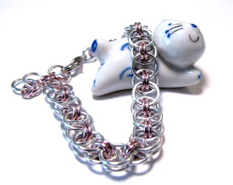 Silver and Pink Chainmaille Helm Weave Bracelet - Free Shipping Canada and Continental US