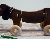 Toy Wooden Dog Pull Toy - Walnut Wood - Wiggle When I Walk - Handcrafted Walnut Wood Dachshund Puppy Pull Toy - Walnut Pull Toy Dog