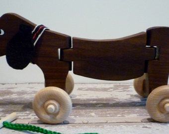 Toy Wooden Dog Pull Toy - Wiggle When I Walk - Handcrafted Walnut Wood Dachshund Puppy Pull Toy