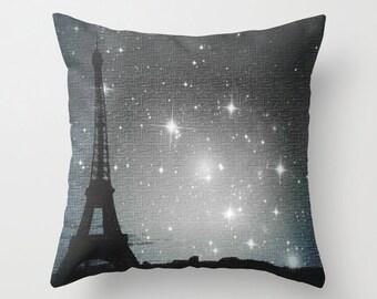 Throw Pillow, Starry Night in Paris. Eiffel Tower, 16x16, 18x18, 20x20, Decorative Pillow, Cover, Cushion, Wedding Gift, Dreamy pillow,Stars
