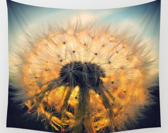 Dandelion Tapestry, Make a Wish Tapestry, Botanical Large Wall Decor, Photo, Modern Decor, Wall Hanging, Nature Tapestry, Sunset Tapestry
