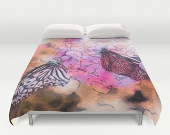Butterfly Duvet Cover, Watercolor Bedding, Flower bedding, Colorful design, Nature Comforter Cover,Pink,Lilac, Beach, Twin, Full Queen, King