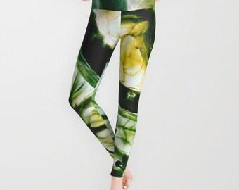 Lemon and Lime Leggings, Green Yoga Pants, Yellow Leggings, Fresh Yoga Leggings, Women, Teen Active Wear, Running Pants, Jogging, Surf,Fresh