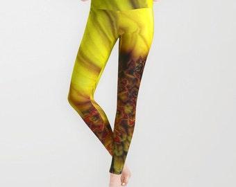 Sunflower Leggings, Yellow Yoga Pants, Unique Fashion, Vivid Yoga Leggings, Women, Teen Active Wear, Running Pants, Jogging, Surf, Flower