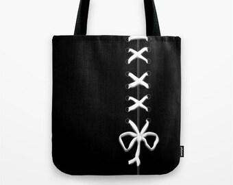 White Lace print Tote Bag, 13x13, 16x16, 18x18, Black Ribbon Tote, Beach Tote, Modern Tote, Sexy, Contemporary Tote,Holiday Tote, Laced Tote