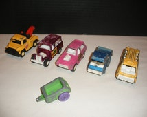 6 Vintage Tootsie Toys Cars Bimini Buggy, Busy Bee Bus, Tow Truck, and Others
