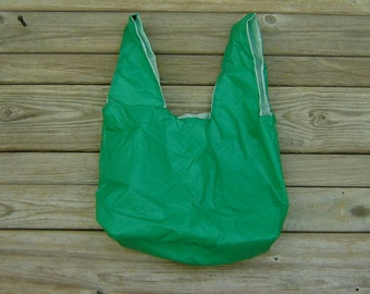 Kelly Green and White Eco Friendly Grocery Bag Water Resistant Zero Porosity Parachute Market Bag