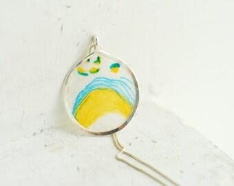 Pop Art Jewelry, Sky Blue Mini Painting, Neon Yellow Flower Necklace