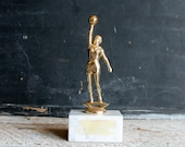 Vintage Women's Basketball or Volleyball Trophy, Girls League Sports Award on Marble Base, Fifties